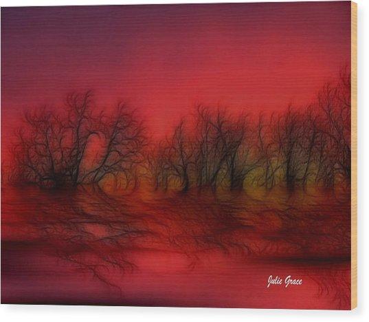 Sunset Trees Wood Print