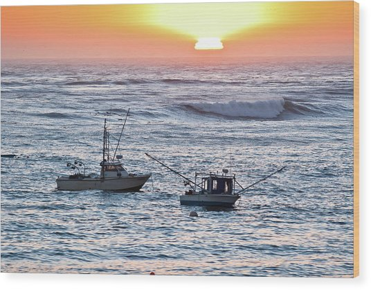 Sunset With Fishing Boats Wood Print