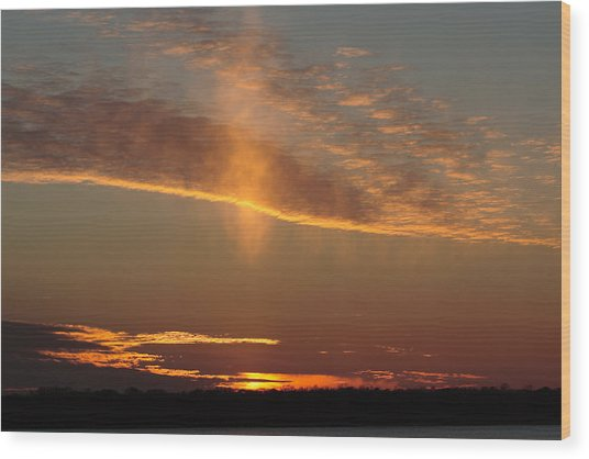 Wood Print featuring the photograph Sunset With Mist by Daniel Reed