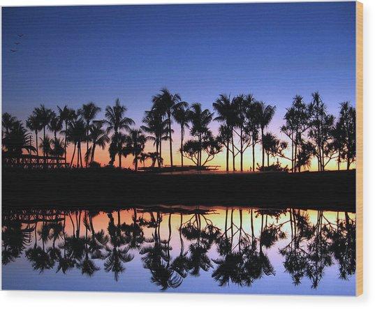 Sunsettrees Wood Print