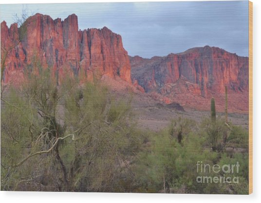 Superstitions Wood Print by Patty Descalzi