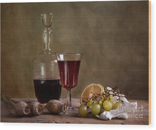 Supper With Wine Wood Print