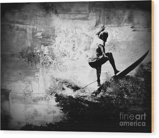 Surf In Action Wood Print by Kevin Moore