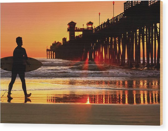 Surf Session At Sunset Wood Print by Donna Pagakis