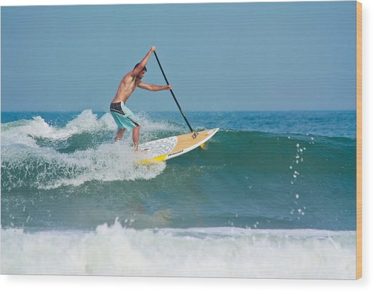 Surfing And Paddling Wood Print