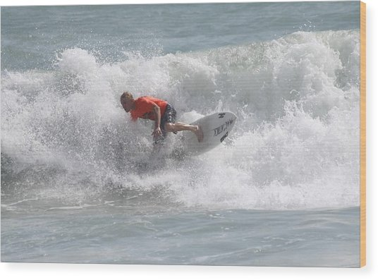Surfing In Cocoa Beach Wood Print