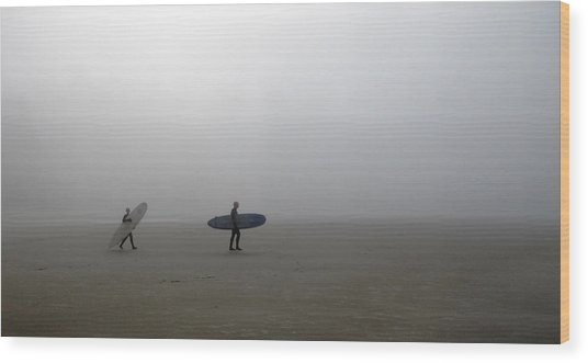Surfing Into The Abyss Wood Print
