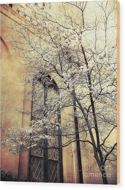 Surreal Gothic Church Window With Fall Tree Wood Print by Kathy Fornal