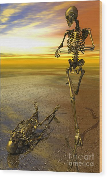 Surreal Skeleton Jogging Past Prone Skeleton With Sunset Wood Print