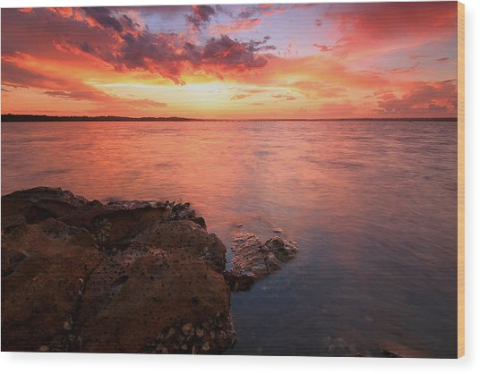 Swan Bay Sunset 2 Wood Print