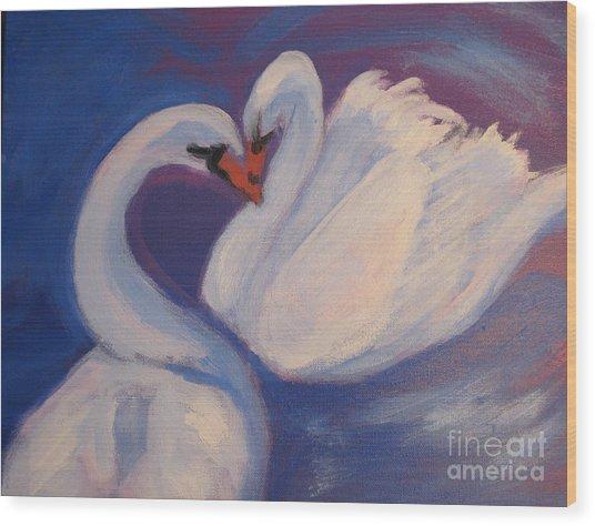 Swan Kiss Wood Print