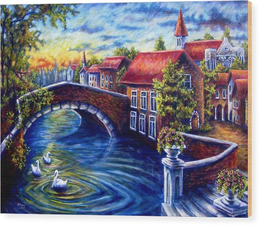 Swans In Venice Wood Print