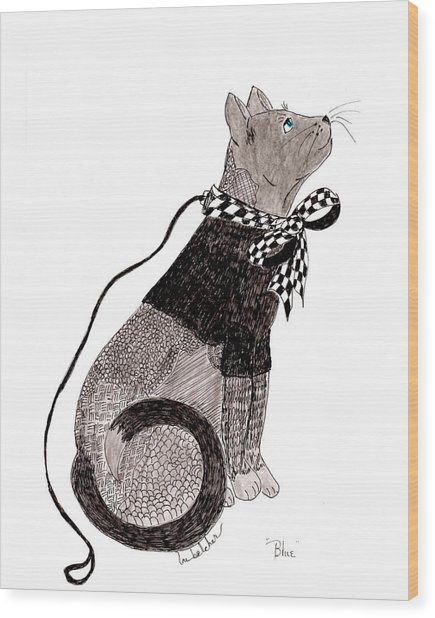 Sweater Cat Named Blue Wood Print