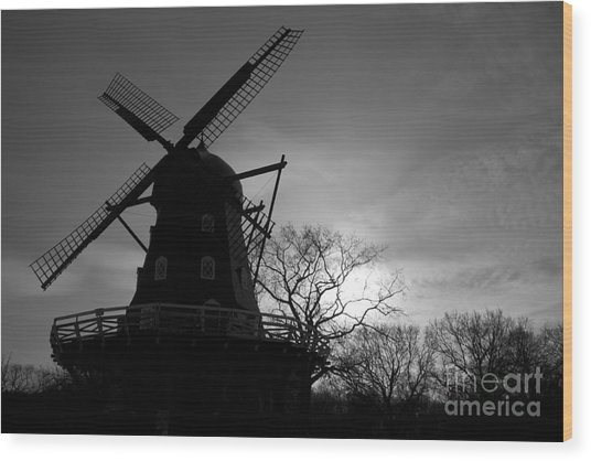 Swedish Windmill Wood Print by Mike  Connolly