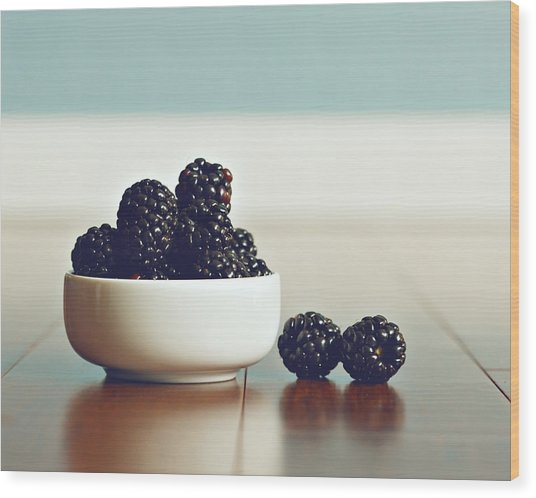 Sweet Blackberries Wood Print by Amelia Matarazzo