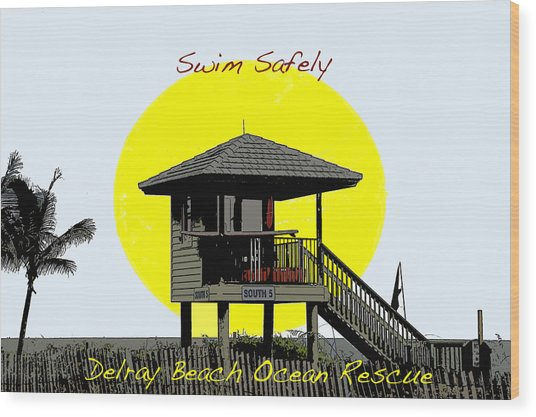 Swim Safely Wood Print