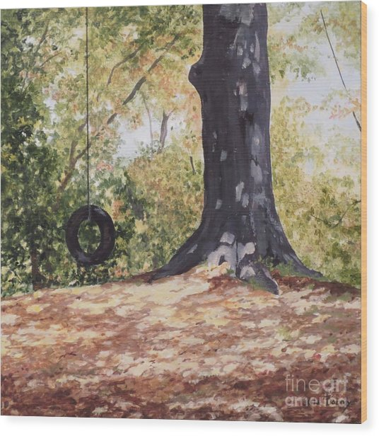 Swing Time Wood Print by Carla Dabney