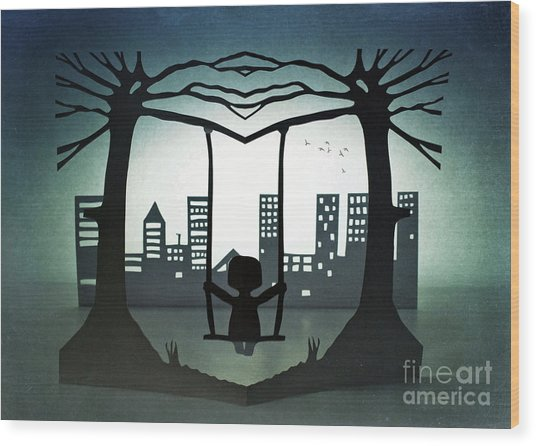 Swing With A City View Wood Print by Catherine MacBride