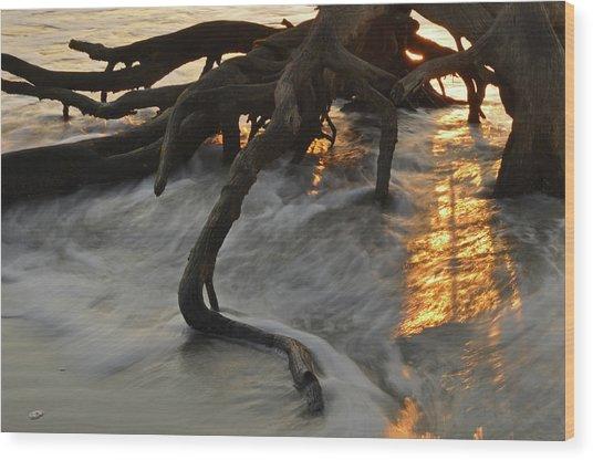 Swirling Sunrise On Jekyll Island Wood Print