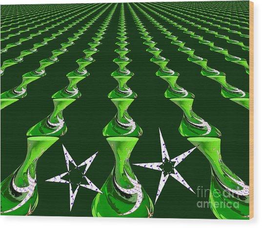 Swirly Green Links Wood Print by Jeannie Atwater Jordan Allen