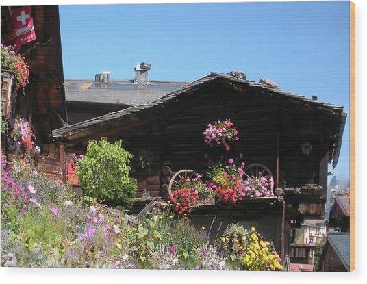 Swiss Chalet Interlaken Wood Print by Marilyn Dunlap