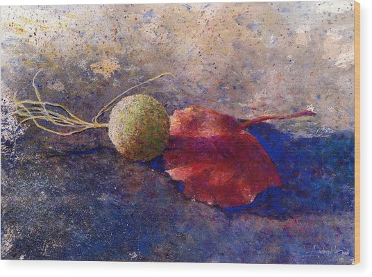 Wood Print featuring the painting Sycamore Ball And Leaf by Andrew King