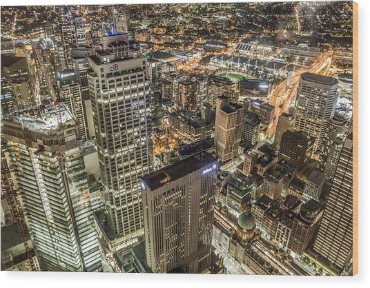 Sydney At Night Wood Print by Andy Nguy