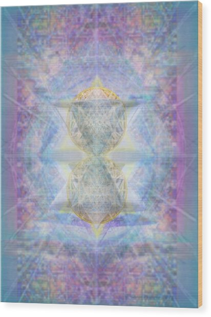 Synthecentered Doublestar Chalice In Blueaurayed Multivortexes On Tapestry Wood Print