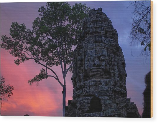 Ta Phrom Wood Print by Dominic Guiver