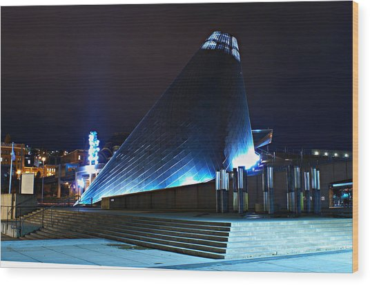 Tacoma Museum Of Glass At Night 1 Wood Print