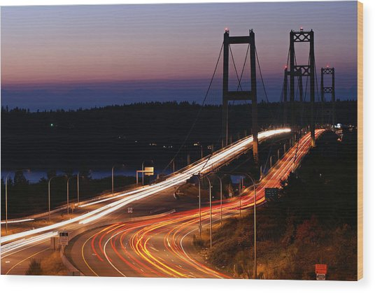 Tacoma Narrows Bridges Flowing Light  Wood Print