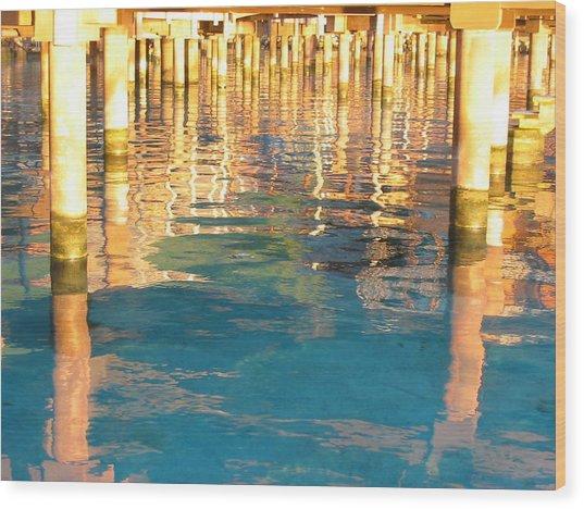 Tahitian Reflection Wood Print by Mark Norman