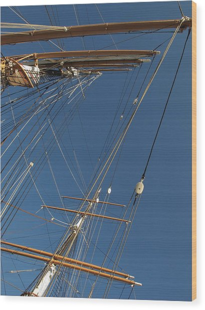 Tall Ship Rigging 1 Wood Print by Winston  Wetteland