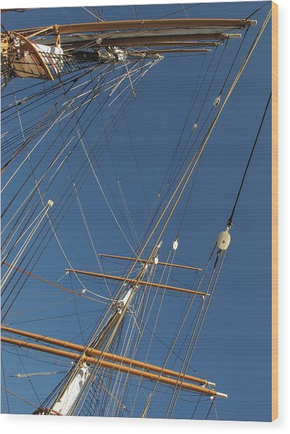 Tall Ship Rigging 2 Wood Print by Winston  Wetteland