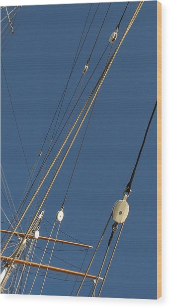 Tall Ship Rigging 3 Wood Print by Winston  Wetteland