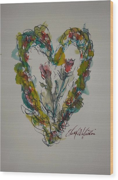 Tall Tell Heart In Love Wood Print by Edward Wolverton