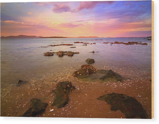 Tanilba Bay Sunset Wood Print