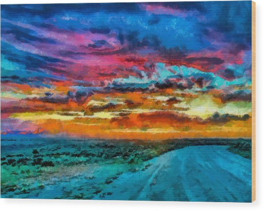 Taos Sunset Iv Wc Wood Print