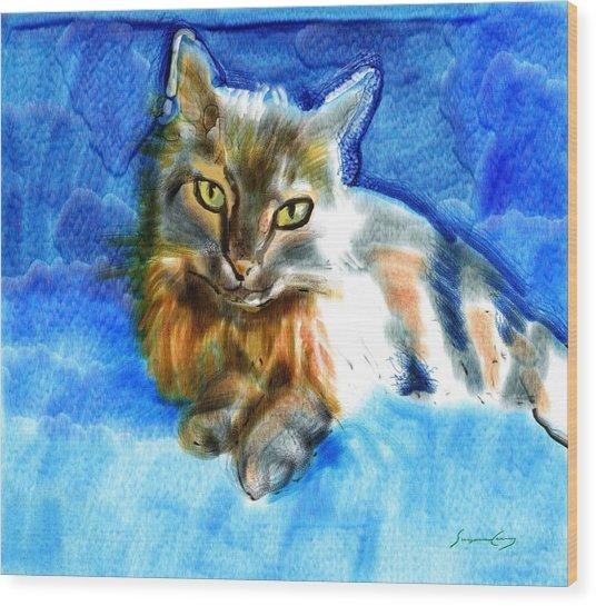 Tara The Cat Wood Print