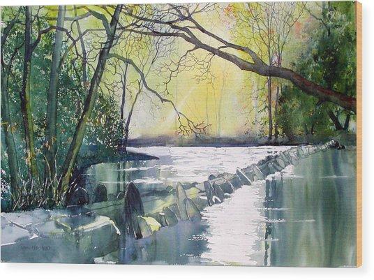 Tarr Steps Near Exmoor Wood Print