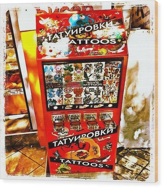 Tattoo Vending Machine. #varna #tattoo Wood Print by Richard Randall