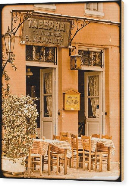 Athens, Greece - Taverna Wood Print