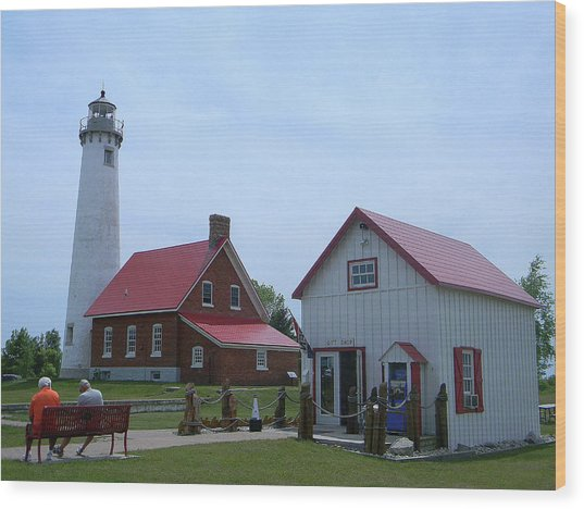 Tawas Point Lighthouse And Store Wood Print