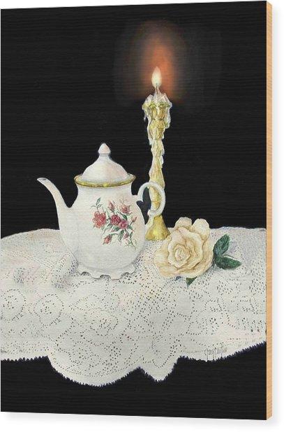 Tea Pot And Rose Wood Print
