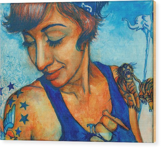 Tegan Tattoos Wood Print by Emily Lounsbury