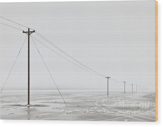 Telephone Poles In Bleak Winter Landscape Wood Print by Dave & Les Jacobs