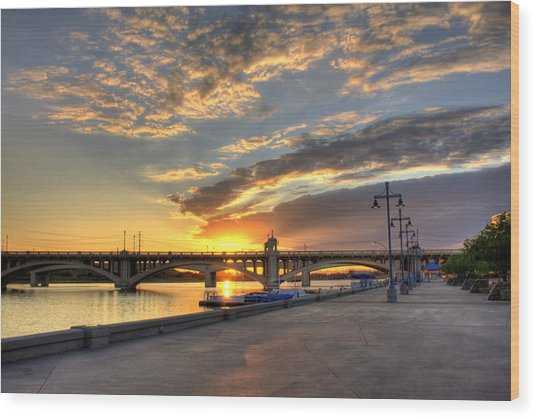 Tempe Town Lake Sunrise Wood Print