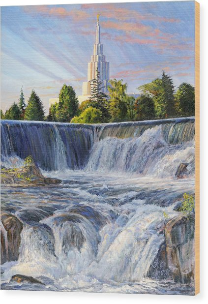 Temple And The Falls Wood Print