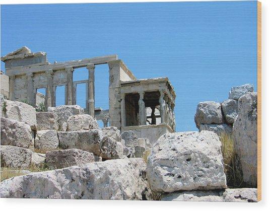 Temple Of Athena On Acropolis Wood Print