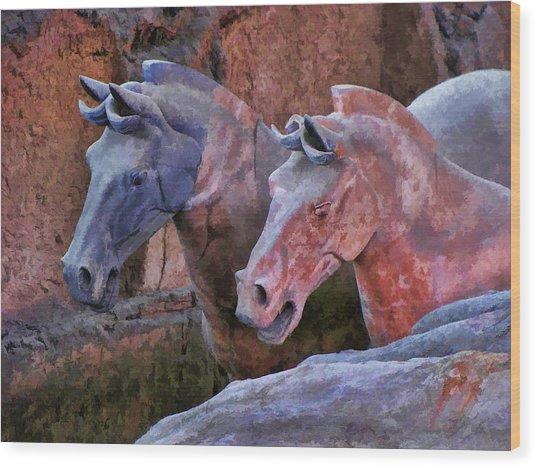 Terracotta Warriors' Horses 1 Wood Print